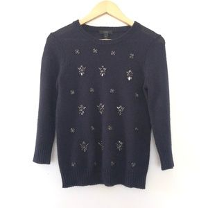 J Crew Wool Blend Jewel Sweater XS